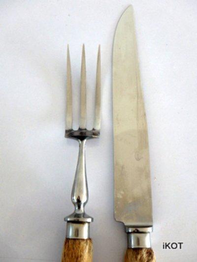 "vintage set for serving meat ""Normandy"" hoof handles"