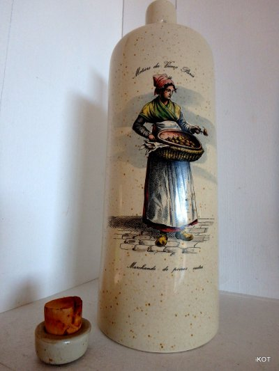 vintage Bottle for wine Pear Tincture liquor  France Normandy