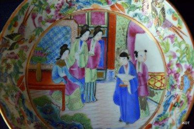 "Chine Canton Tea pair ""Pink China"" rose mandarin"