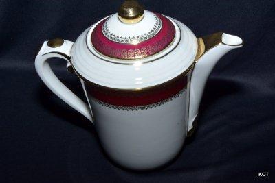 Limoges Лиможский фарфор Кофейный сервиз Бордо и золото