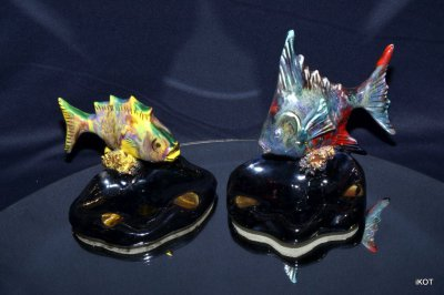 "Vallauris. Two ashtrays ""Fish Red &Yellow"""