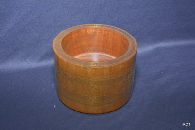 antique Wooden brass inlaid pencils holder