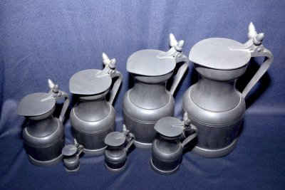 "shape double Acorn seven antique Pewter Pitchers, made by ""Etain du Manoir"" France"