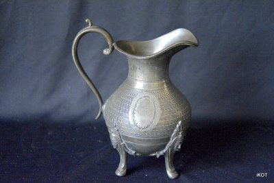Antique pewter set teapot sugar bowl and milk-pot France