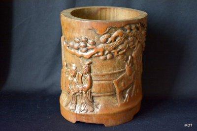 Индокитай антикварная бамбуковая ваза Фруктовый сад