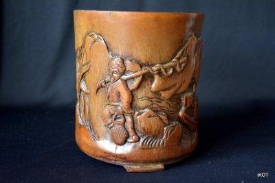 Индокитай Резная бамбуковая ваза Рыбаки