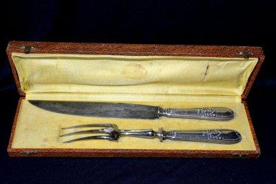 Acier forge antique set for serving meet