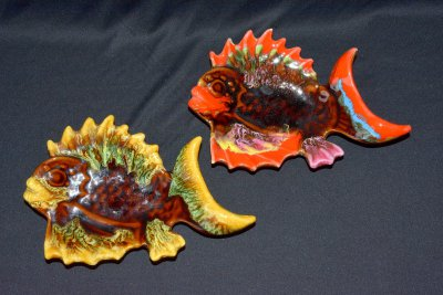 "Vallauris. Plate-tray Fish ""Ruffle Red"""