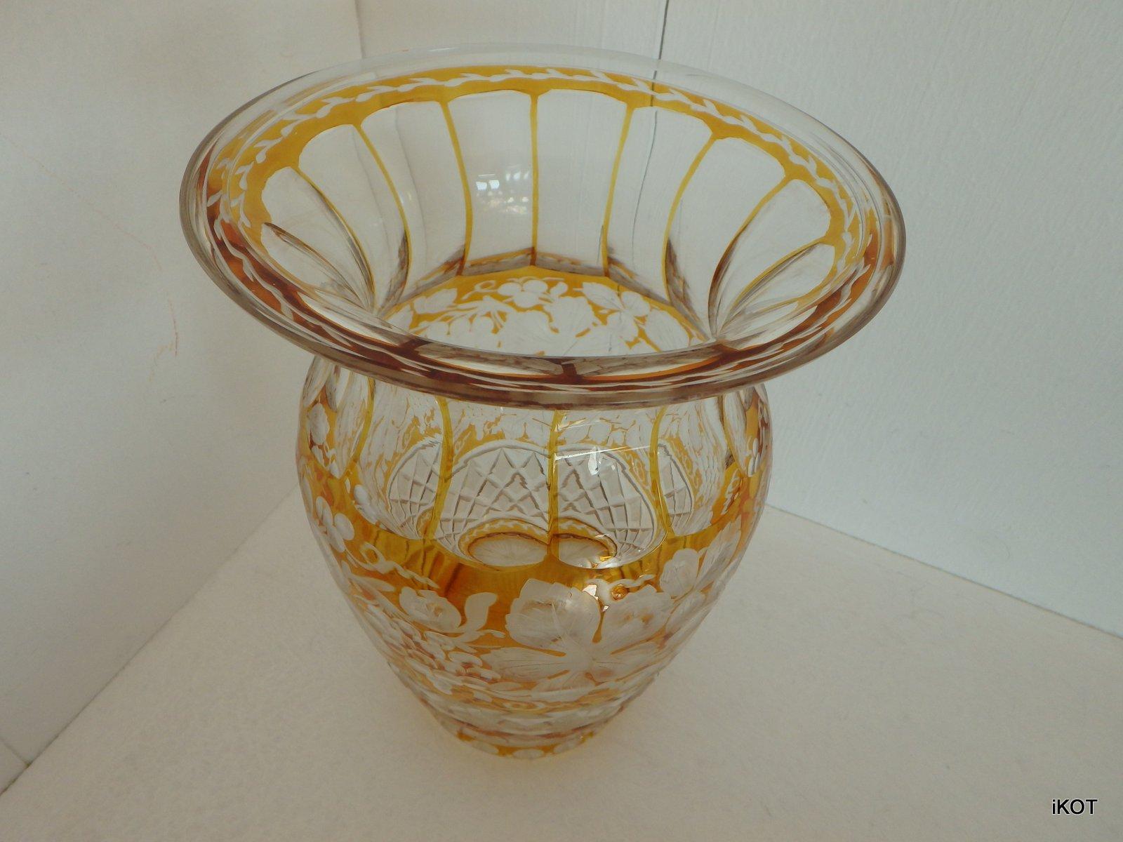 Vintage Bohemia Vase Amber Lace