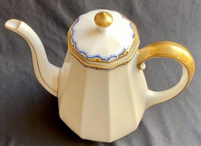 Limoges, Raynaud&Co Кофейный сервиз «Белый, голубой и золото»
