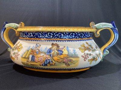 """HR Quimper. Jardiniere and vase """"Breton scenery"""""""
