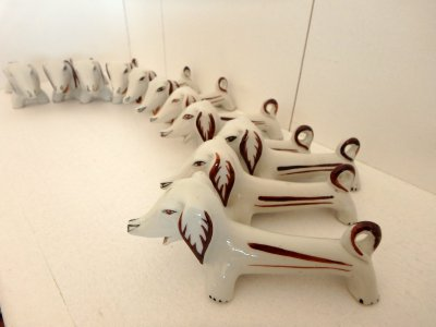 "Set of ceramic knife stands ""Dog-dachshund"""