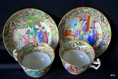 "Chine. Canton. Tea pair ""Pink China"""