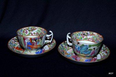 "antique Chine Canton Tea pair ""Pink China"""