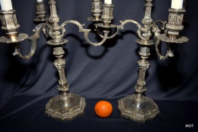 "Antique candlestick in Louis XVI style, three-legged ""Louis-2"", France"