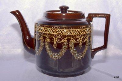 Англия Jackfield Dewey Чайник Викторианский коричневый
