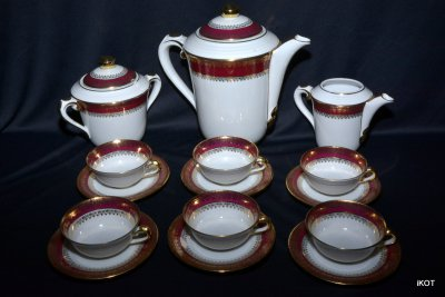 "Limoges. Coffee set ""Bordo and gold"""