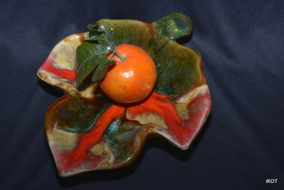 vintage Vallauris Vase-tray for jewelry or snacks Leaf