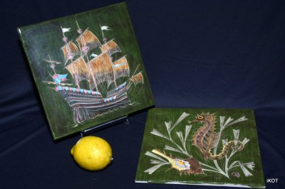 "Two ceramic plates ""Sea life"""