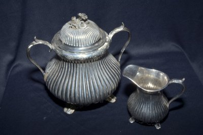 Antique set of three silvering items samovar sugar bowl and milk container