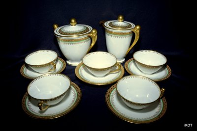 "Limoges. Coffee set ""Green and Gold"""