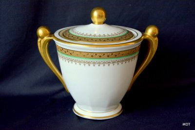 Lucien Michelaud Limoges Coffee set Green and Gold