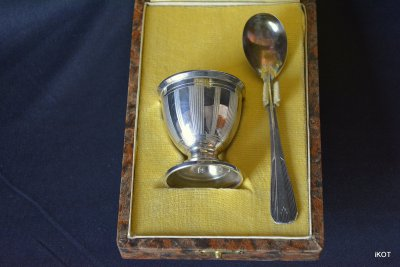 "Bodet Pasquier. Set egg with spoon style ""ArtDeco"""