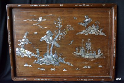 """Indochina. Wooden tray """"Pearl Life"""""""